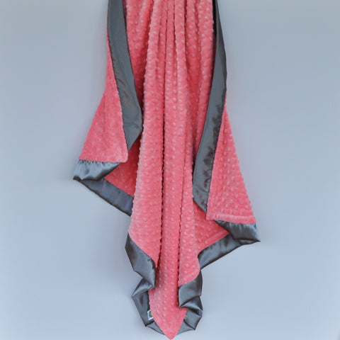 Coral Minky Baby Blanket with Gray Satin Trim