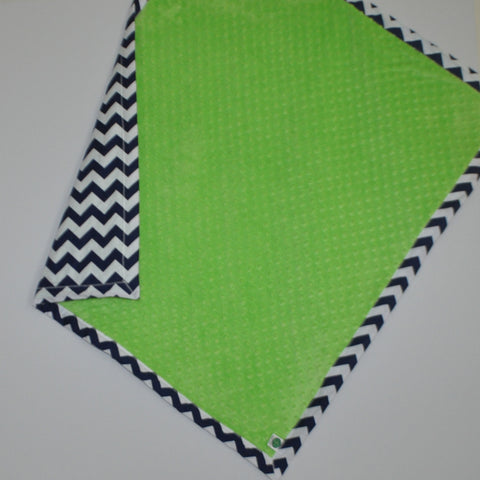 Navy Blue Chevron Baby Blanket with Lime Green Minky
