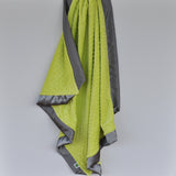 Apple Green Minky Baby Blanket with Charcoal Gray Satin Trim