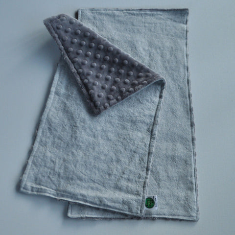 Gray Linen and Minky Burp Cloth 2 Pack