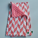 Coral Chevron with Coral Minky Burp Cloth