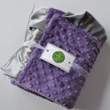 Purple and Gray Satin Minky Baby Blanket