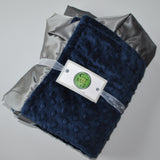 Navy Blue Minky Baby Blanket with Charcoal Gray Satin Trim