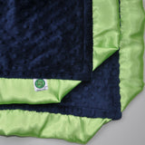 Navy Blue Baby Blanket with Lime Green Satin Trim