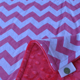 Pink Chevron Blanket with Pink Minky