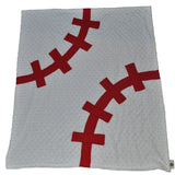 Baseball Baby Blanket Red Stitching