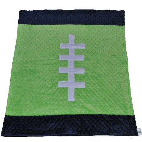 Sports Color Football Baby Blanket Lime and Navy Blue