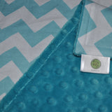 Aqua Chevron Blanket with Teal Minky