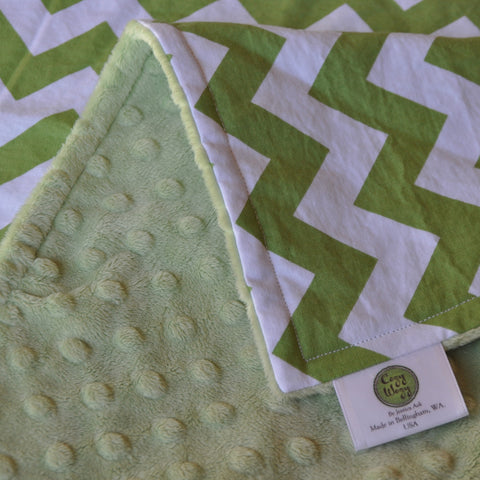 Green Chevron Blanket with Green Minky
