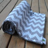 Chevron Blanket Gray with Gray Minky