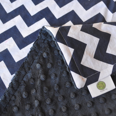 Navy Blue Chevron Blanket with Navy Minky