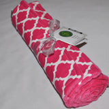 Pink quatrefoil lattice burp cloth set