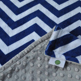 Navy Blue Chevron with Gray Minky