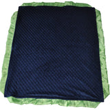 Navy Blue Minky Blanket with Lime Green Satin Trim