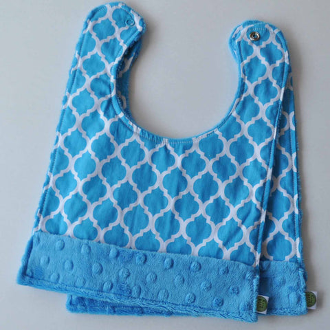 Moroccan Quatrefoil Snap Baby Bib 2 Pack Turquoise