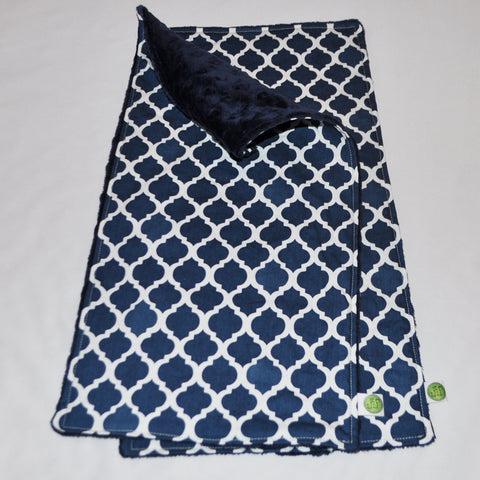 Navy Blue Moroccan Quatrefoil Burp Cloth