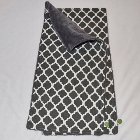 Gray Quatrefoil Burp Cloth