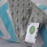 Chevron Minky Blanket Turquoise With Gray