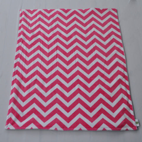 Chevron Minky Blanket Pink With Gray Minky