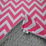 Pink Chevron with Gray Minky