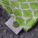 Lime Quatrefoil with Gray Minky