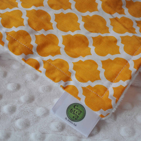 Yellow lattice print with white minky