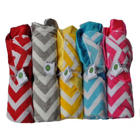 Satin Trim Minky Chevron Blanket