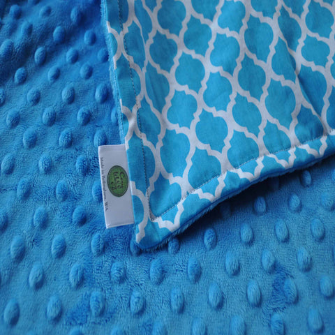 Blue Moroccan Lattice Baby Blanket with Blue backing