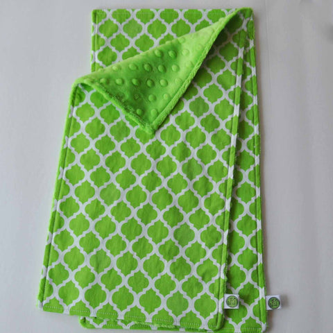Lime Green Quatrefoil Burp Cloth Set