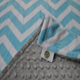 Turquoise and Gray Chevron Minky