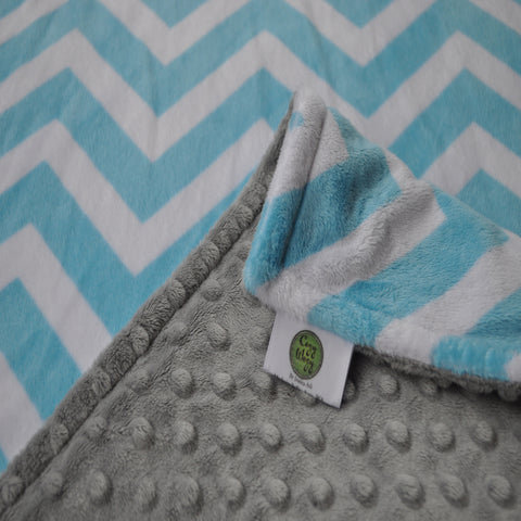 Turquoise Chevron with Gray Minky