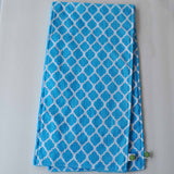 Aqua Quatrefoil Burp Cloth