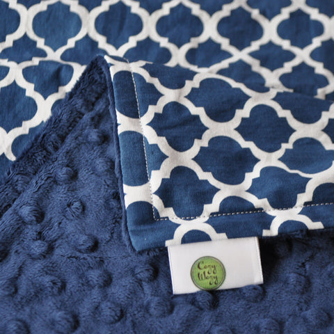 Navy Quatrefoil with Navy Blue Minky