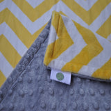 Yellow Chevron with Gray Minky