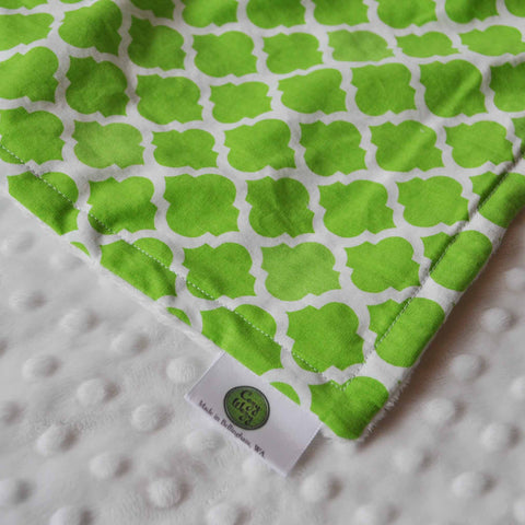 Lime Quatrefoil with White Minky