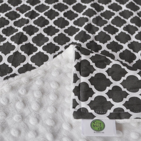 Gray Quatrefoil Blanket with White Backing
