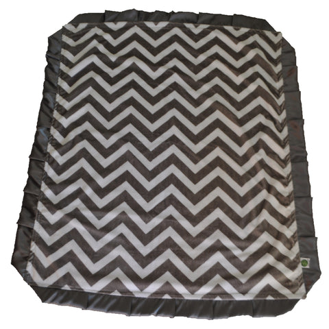 Chevron Minky Blanket with Satin Trim Gray