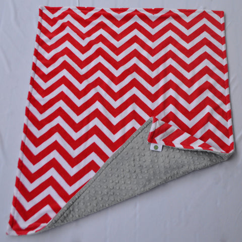 Red and Gray Chevron Minky Baby Blanket