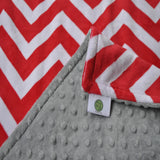 Red Chevron Blanket With Gray Minky