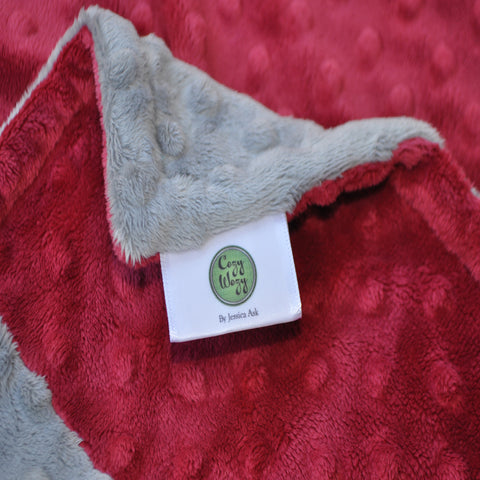 Signature Minky Baby Blanket Sports Crimson Red & Gray