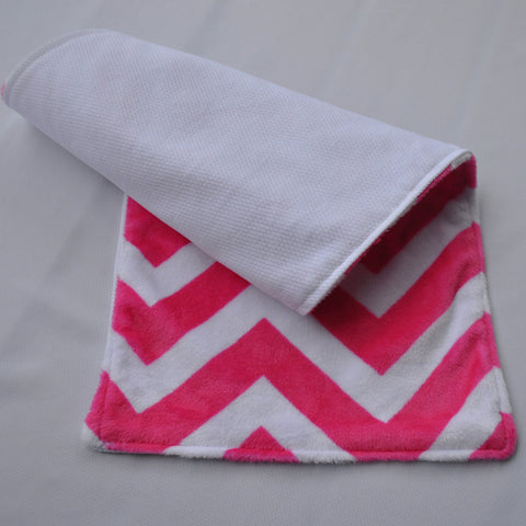 Chevron Minky Burp Cloth Pink backed with Birdseye cotton 2 pack