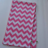 Pink Chevron Burp Cloth with Pink Minky