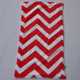 Red Chevron Minky Burp Cloths