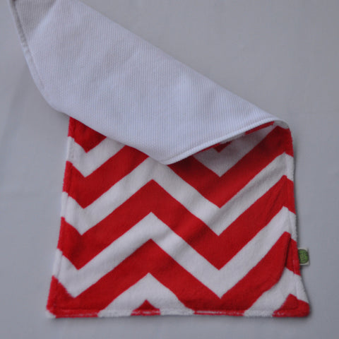 Chevron Minky Burp Cloth Red backed with Birdseye cotton 2 pack