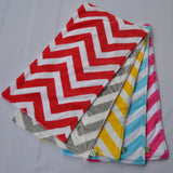 Chevron Minky Burp Cloth backed w/ Birdseye 2 pack Color Options