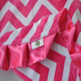 Pink and White Minky Chevron with satin trim