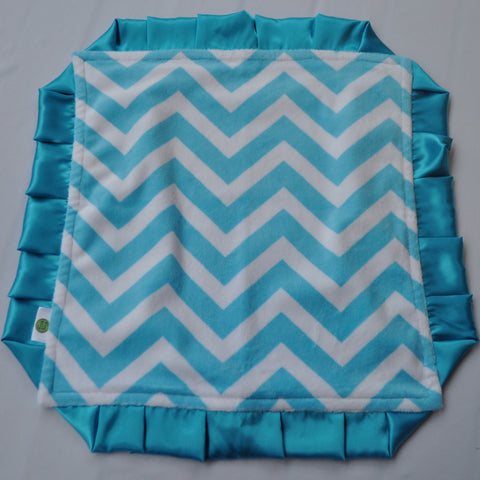Chevron Minky Luxury Turquoise Lovie/ Security Blanket