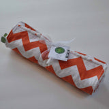 Orange and White Chevron Burp Cloth 2 Pack