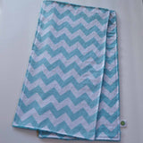 Aqua Chevron Burp Cloth with Teal Minky