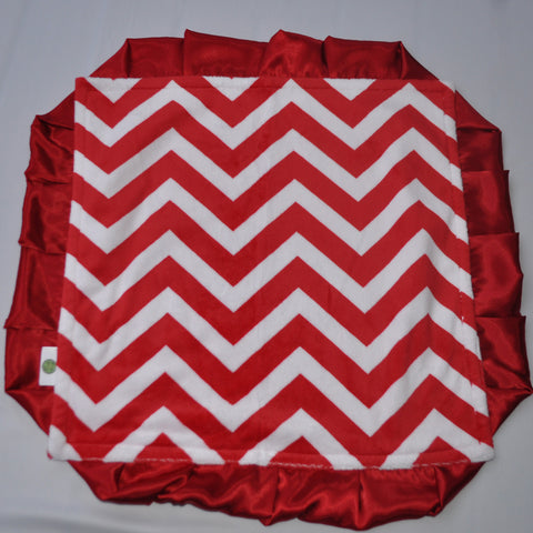 Chevron Minky Luxury Red Lovie/ Security Blanket